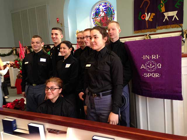 Cadets in church